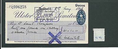 wbc. - CHEQUE - CH979 - USED -1956 - ULSTER BANK, DROMORE