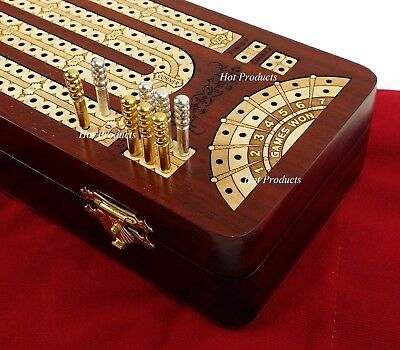 "12 1/2"" 2 TRACK CONTINUOUS Cribbage Board BLOODWOOD Corner Games Won Storage Box"