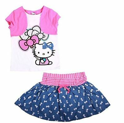 NEW Hello Kitty 2 PC Denim Look Skort & Embellished Kitty w/Balloons Top Set 3T