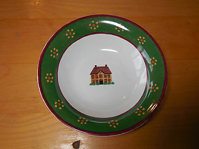 Gear Block COUNTRY VILLAGE Set of 4 Soup Cereal Bowls 7 1/4 Green Yellow