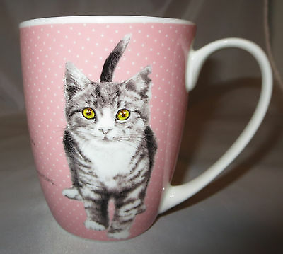 Pink Cat Coffee Mug It's All About Meow Collection Fine Bone China Cup Kitten