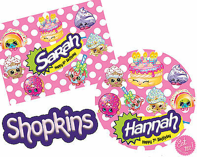 Shopkins personalised Customised Edible REAL Icing Image Birthday Cake Toppers