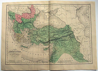 Original 1859 Map of Ottoman Empire by Delamarche - Armenia Kurdistan Palestine
