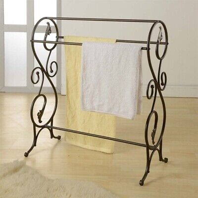 NEW Vintage Quilt Rack Stand Blanket Bedspread Storage Display Scroll Metal Iron