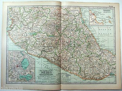 Original 1902 Map of Central Mexico - A Nicely Detailed Color Lithograph