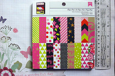 NEON 6x6Pk 12 Designs 2 Ea + 6 Ea Speciality Designs Sngl Sided Hvy Cardstock AC