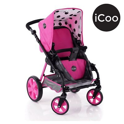 Hauck Icoo 3 in 1 Dolls Stroller Pram Buggy with Adjustable Handles Pink Girls