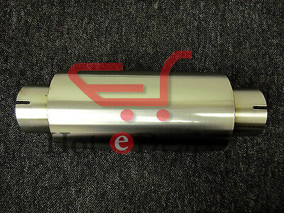 """Clamp-on Stainless Exhaust Silencer 4"""" Body 10"""" length 63mm I.D Tig Welded 2.5"""""""