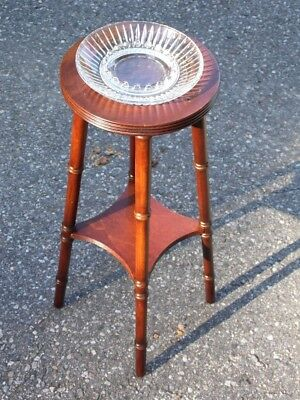 Antique Federal Mahogany Faux Bamboo Smoking Stand Glass Ashtray Plant Stand