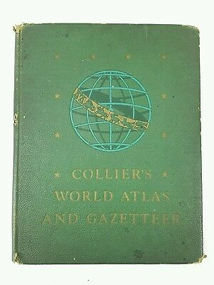Vintage - Colliers World Atlas And Gazetteer - 1943 Hardcover 336 Pages - Rare