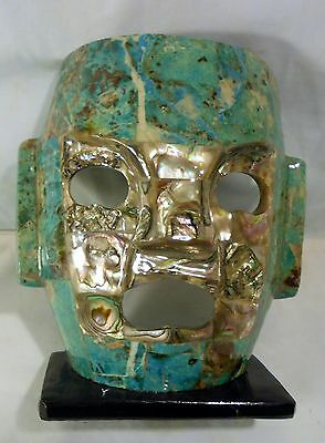 Beautifully Hand Crafted Mexican Turquoise Color  & Sea Shell Mayan  Mask