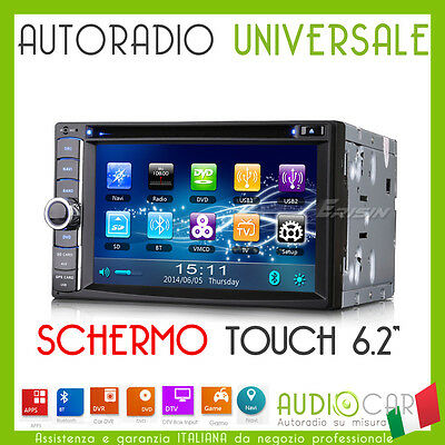 "AUTORADIO 6.2"" Universale Touch Navigatore/GPS/VIDEO/MP3/SD/Mappe/DVD/Bluetooth"