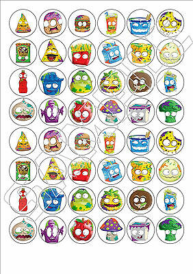 48 x Grossery Gang fairy cake toppers printed on edible Icing Sheet