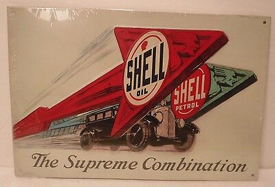 """Shell Oil/Petrol Embossed Metal Sign """"The Supreme Combination"""" Collectible Sign"""