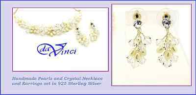 Pearl and Crystal Earrings and Necklace Prom Jewelry Bridal and wedding jewelry