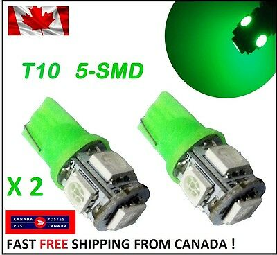 2X T10 LED Green Xenon 5SMD/5050/194Bulbs Light 168 W5W license Plate Wedge HID