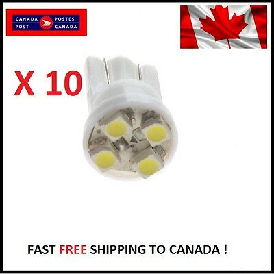 10X White Xenon LED T10 4SMD/5050/194Bulbs Light 68 W5W license Plate Short Base