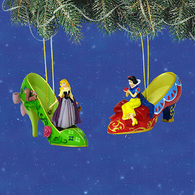 Disney's Once Upon a Slipper Ornaments Snow White Arora Shoe Figures set #17