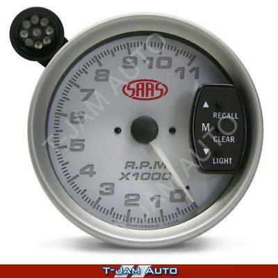 SAAS Tacho White Face 5 Inch 125mm 11,000 rpm Gauge Shift Light NEW