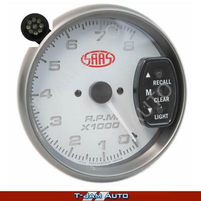 SAAS Tacho White Face 3.75 Inch 8,000 rpm Gauge Shift Light NEW