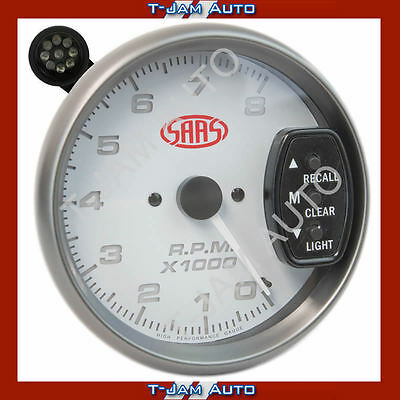 SAAS Tacho White Face 5 Inch 125mm 8,000 rpm Gauge Shift Light NEW