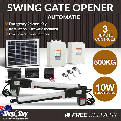 Solar Powered Automatic 2 Arm Swing Gate Opener Set 2 Remote Controls