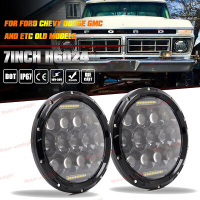 "7"" Round H6014 H6015 H6024 CREE H4 LED Projector Headlights w/ Hi/Lo Beam Lamps"