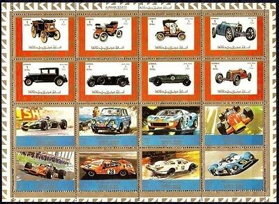 Ajman Old Cars Antique Automobiles Racing Sport F1 Formula 1 Transport perf MNH