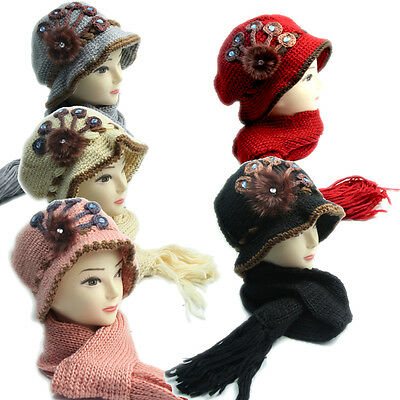 1920 Vintage Knitted Wool Hat and Scarf Set Ladies 5 Colours