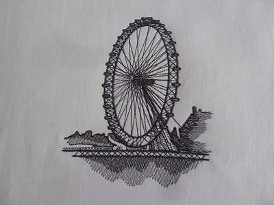 London Eye - Machine Embroidered Quilt Block - Choose your colour thread
