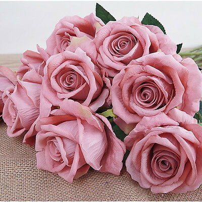 Artificial Fake Roses Flannel Flower Bridal Bouquet Wedding Party Home Decor
