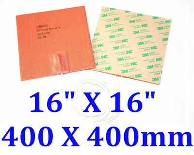 """15.7 """" X 15.7 """" 1200W 220V 3D Printer heated bed silicone heater plate with 3M"""