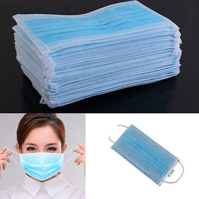 50X Nail Medical dental disposable Ear_loop Face Surgical Dust Mask Respirator