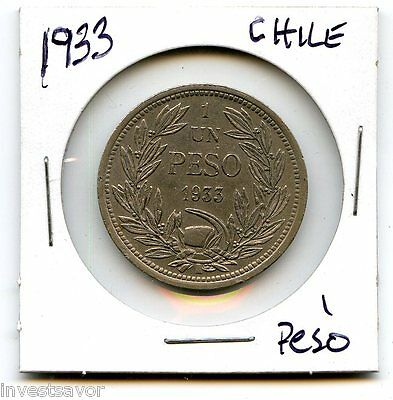 1933 One Peso Coin, Chile Nice for any Collector