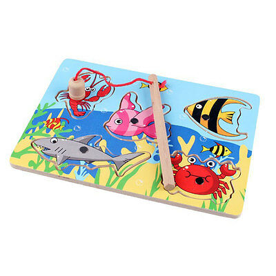 3D Magnetic Fishing Board Toy Wooden Mini Ocean Puzzle Educational For Children