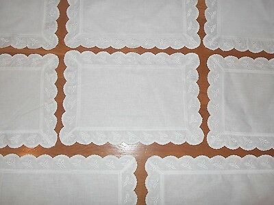 Set of 8 Vintage White Embroidered Linen Placemats & Napkins High Quality  Fine