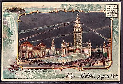 """Pan-American Exposition Souvineir Post Card of the Electric Tower 9"""" x 6"""""""
