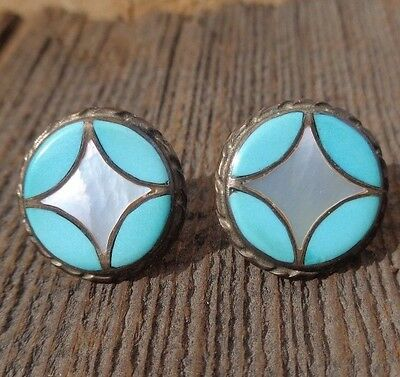 Vintage Native American Sterling Silver Post Turquoise MOP Inlay Earrings