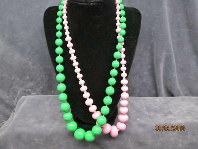 2 Vintage Pink And Green Necklaces