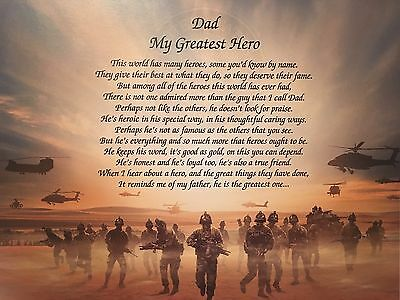 US Army Gift For Dad Birthday Veterans Day My Greatest Hero Poem