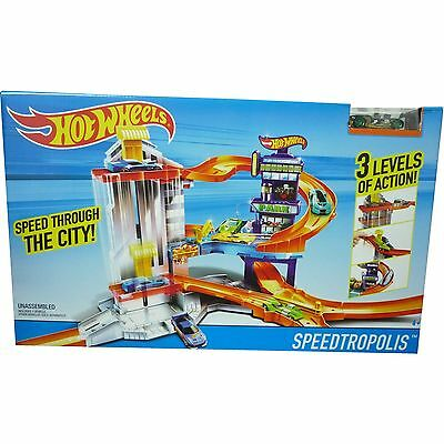 Hot Wheels Speedtropolis Garage Toy 3 Level City Track Set Inc 1 x Car New Boxed