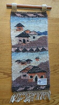 """Lesotho African Handspun Mohair Wool Hand Woven Wall Hanging Vintage 20""""x9"""""""