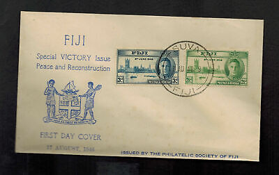 1946 Suva Fiji First Day Cover FDC Peace Issue Set