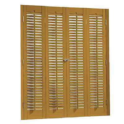 Golden Oak Finish Interior Shutter Colonial Style Faux Wood Made Indoor Window
