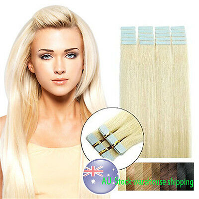 AU Ship 16'' Seamless Tape In Skin Weft Remy Human Hair Extensions Bleach Blonde