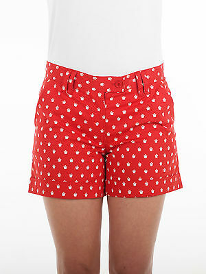 Bunker Mentality Crown Print Ladies Golf Shorts - Red