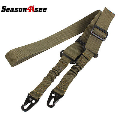 Tactical 2 Point Rifle Sling Adjustable Gun Sling Olecranon Buckle Rope OD