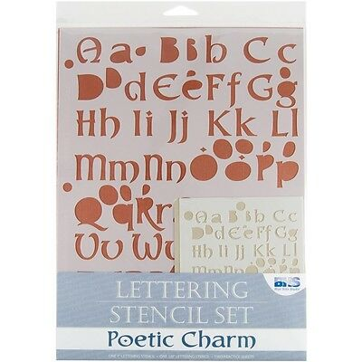 Poetic Charm Lettering Stencil Set - Blue Hills Studio Alphabet And Numbers
