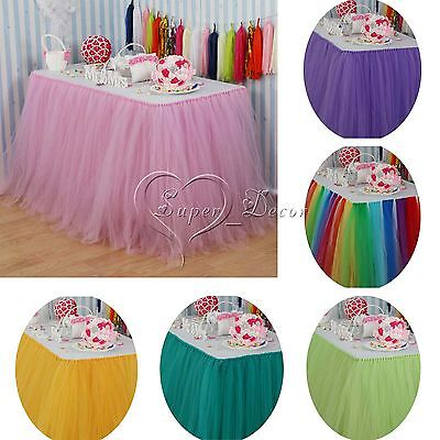 2pcs Tulle Tutu Table Skirt for Wedding Party Baby Shower Decorations 22 Color