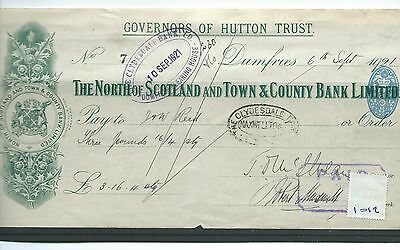 wbc. - CHEQUE - CH1012 - USED -1921- NORTH of SCOTLAND & TOWN & COUNTY, DUMFRIES